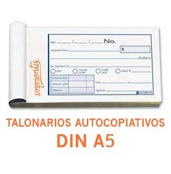 Talonarios autocopiativos DIN A5 - 1 color - (original + 1 copia)
