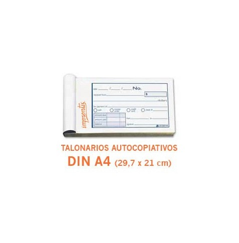 Talonarios autocopiativos DIN A4 - 1 color - (original + 1 copia)
